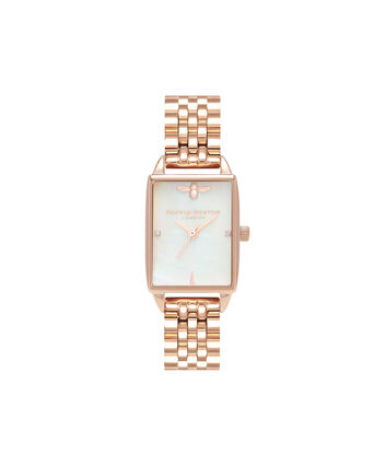OLIVIA BURTON LONDON  Beehive White Mother of Pearl & Rose Gold OB16BH01 – Midi Dial Rectangle in Rose Gold and Rose Gold - Front view