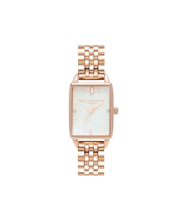 OLIVIA BURTON LONDON Bee Hive White Mother of Pearl & Rose GoldOB16BH01 – Midi Dial Rectangle in Rose Gold and Rose Gold - Front view