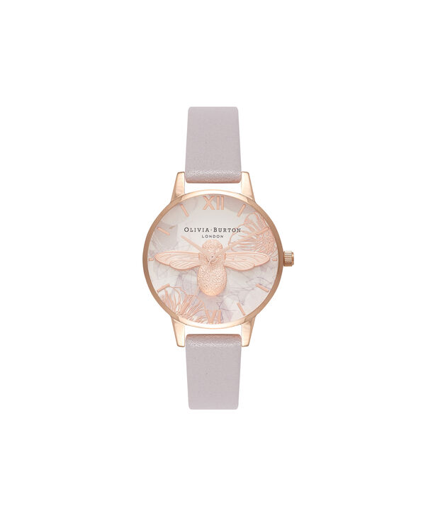 OLIVIA BURTON LONDON Abstract Florals Grey Lilac & Rose Gold Watch OB16VM17 – Midi Round in Rose Gold and Grey Lilac - Front view