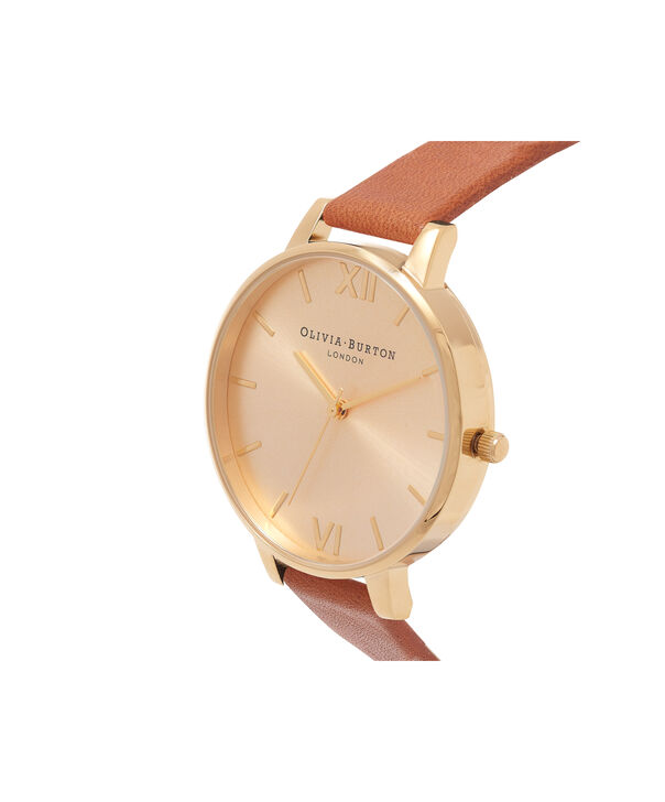 OLIVIA BURTON LONDON  Big Dial Tan And Gold Watch OB13BD09 – Big Dial Round in Gold and Tan - Side view