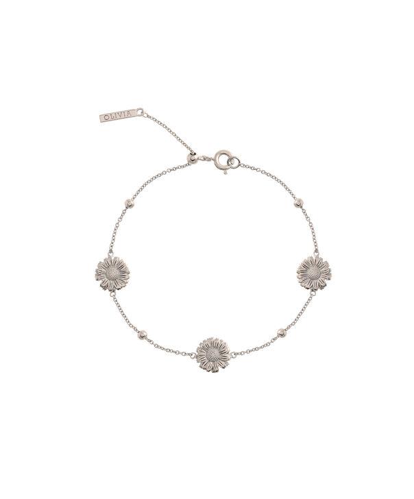 OLIVIA BURTON LONDON  Daisy Chain Bracelet Silver OBJ16DAB08 – 3D Daisy Chain Bracelet - Front view