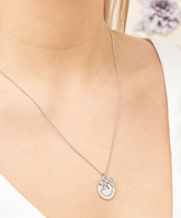 OLIVIA BURTON LONDON  Vintage Bow Coin Necklace Silver OBJ16VBN03 – Vintage Bow Disc Necklace - Other view
