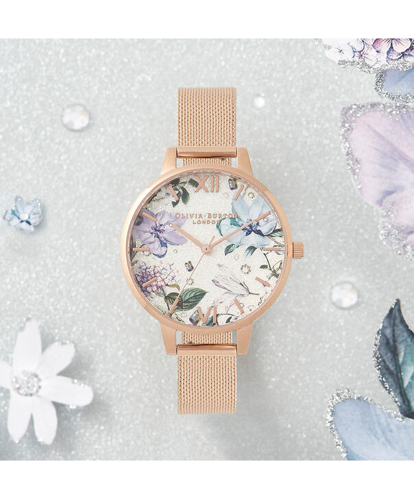 OLIVIA BURTON LONDON Bejewelled Florals Silver Glitter Dial & Rose Gold MeshOB16BF27 – Demi Dial In Rose Gold And Rose Gold - Front view