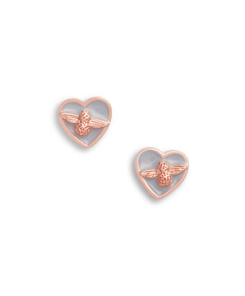 OLIVIA BURTON LONDON Love Bug Studs Grey & Rose GoldOBJLHE14 – SHOPBAG_LABEL - Front view