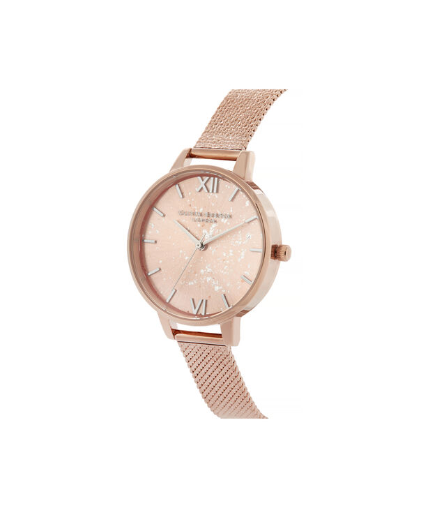 OLIVIA BURTON LONDON Celestial Demi Dial Watch with Boucle MeshOB16GD12 – Demi Dial in rose gold and Silver & Rose Gold - Side view