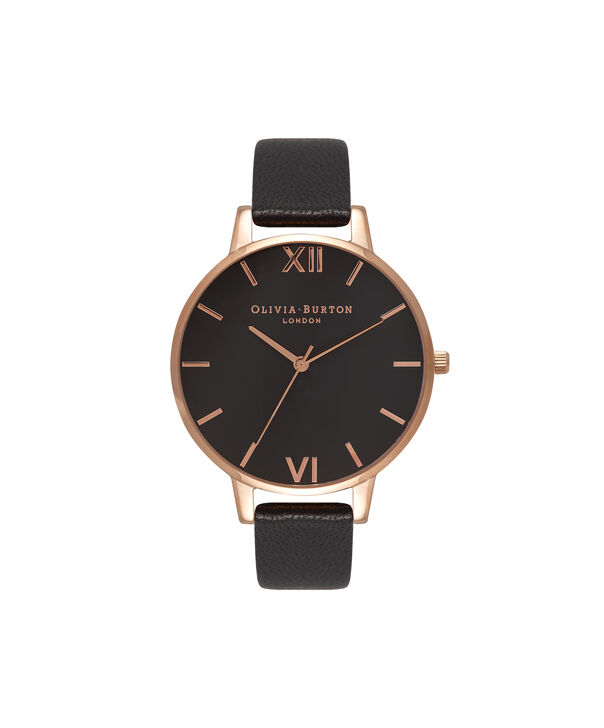 OLIVIA BURTON LONDON  Big Dial Black And Rose Gold Watch OB15BD66 – Big Dial Round in Black - Front view