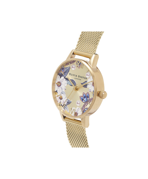 OLIVIA BURTON LONDON Bejewelled Floral Midi Gold MeshOB16EX107 – Midi Dial In Gold And Gold - Side view