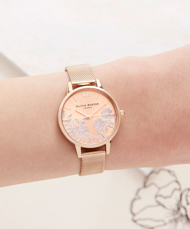 OLIVIA BURTON LONDON  Lace Detail Rose Gold Mesh Watch OB16MV77 – Midi Dial in Rose Gold - Other view