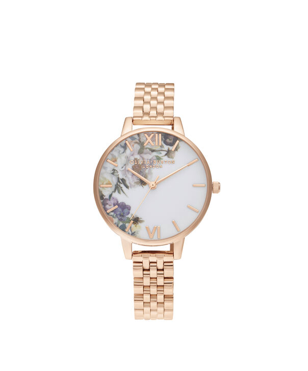 OLIVIA BURTON LONDON Enchanted Garden Demi Rose Gold BraceletOB16EG135 – Demi Dial In Rose Gold And Rose Gold - Front view