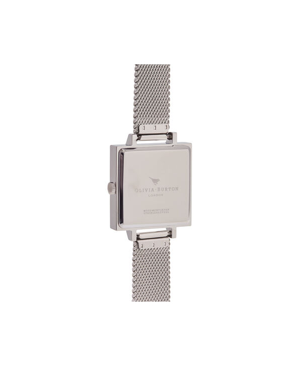 OLIVIA BURTON LONDON  Big Square Dial Silver Mesh Watch OB16SS12 – Big Dial Square in White and Silver - Back view