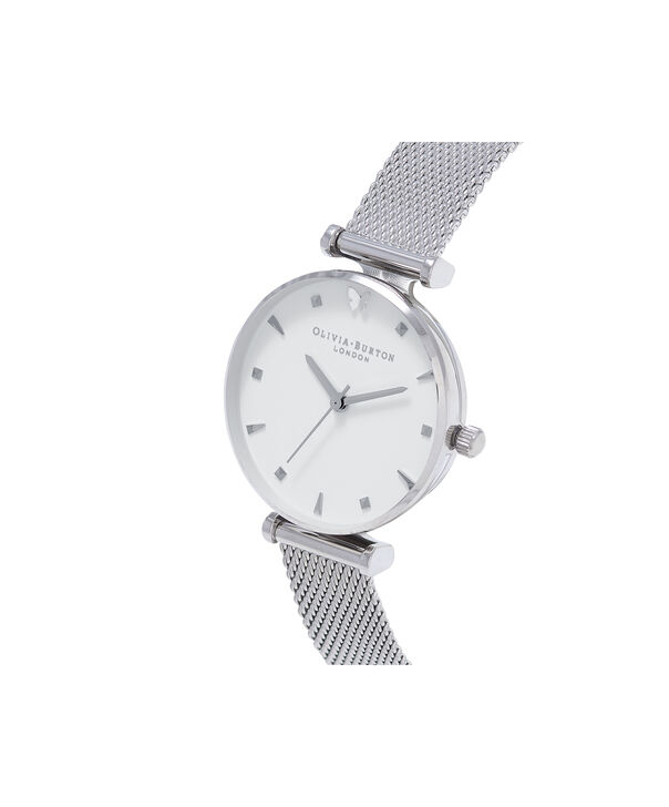 OLIVIA BURTON LONDON  Social Butterfly Silver Mesh Watch OB16MB12 – Midi Dial Round in White and Silver - Side view