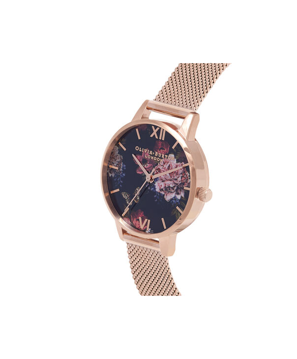 OLIVIA BURTON LONDON  Dark Bouquet Rose Gold Mesh Watch OB16WG44 – Midi Dial Round in Rose Gold - Side view