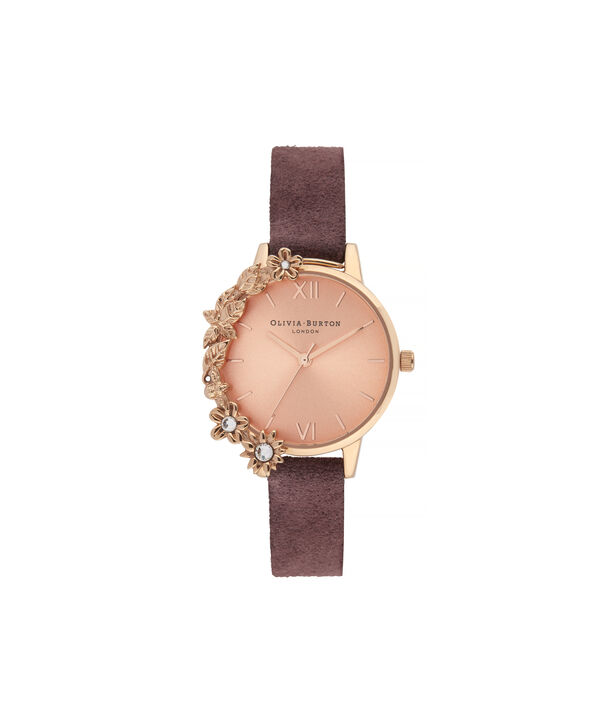 OLIVIA BURTON LONDON Case Cuff Diamante Midi Dial WatchOB16CB21 – Midi Dial in pink and  Rose Gold - Front view