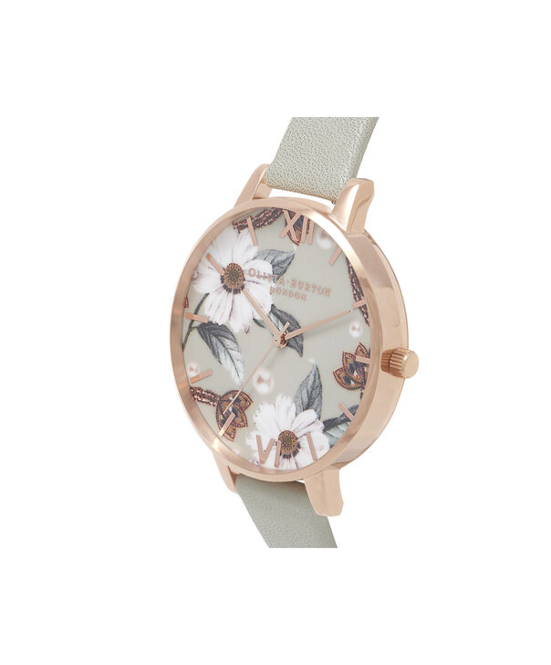 OLIVIA BURTON LONDON Bejewelled Floral Grey And Rose GoldOB16EX106 – Big Dial In Grey And Rose Gold - Side view