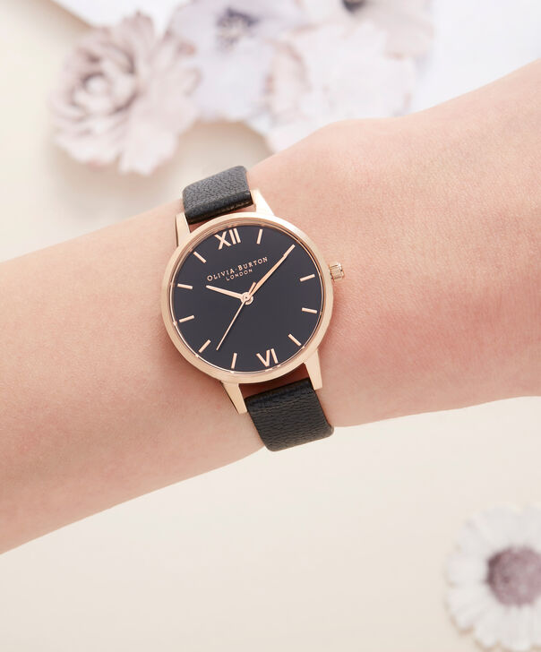 OLIVIA BURTON LONDON  Midi Dial Black And Rose Gold Watch OB16MD83 – Midi Dial Round in Rose Gold and Mink - Other view