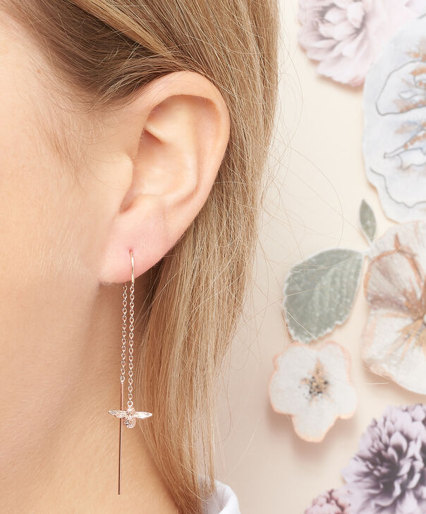 OLIVIA BURTON LONDON  3D Bee Threader Earrings Rose Gold OBJ16AME13 – 3D Bee Chain Earrings - Other view