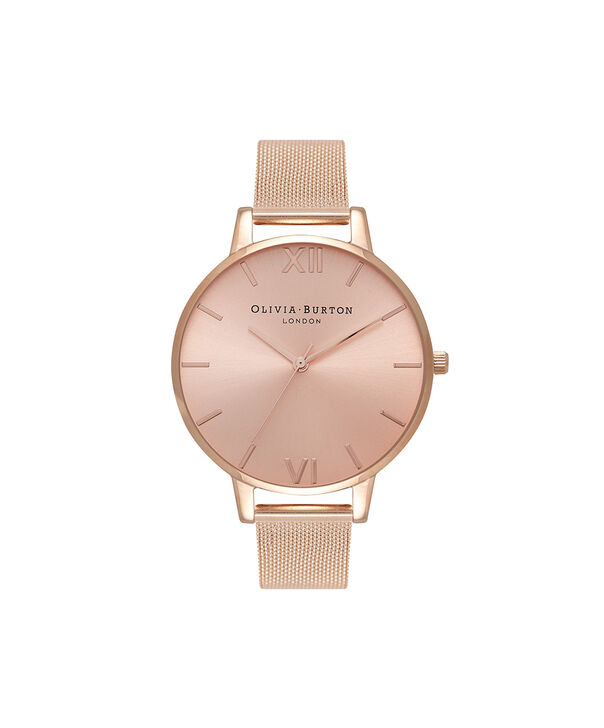OLIVIA BURTON LONDON Big Dial Rose Gold Sunray Mesh WatchOB16BD102 – Big Dial in Rose Gold - Front view
