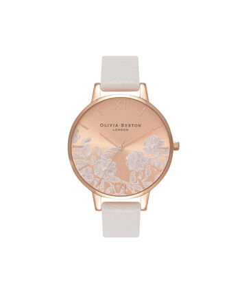 OLIVIA BURTON LONDON  Lace Detail Blush & Rose Gold Watch OB16MV53 – Big Dial Round in Rose Gold and Blush - Front view