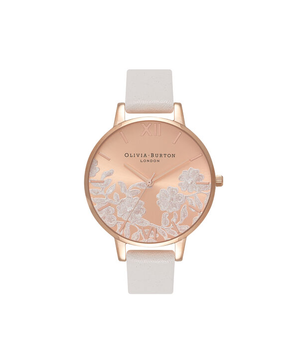 817adf42f25c OLIVIA BURTON LONDON Lace Detail Blush   Rose Gold Watch OB16MV53 – Big  Dial Round in ...