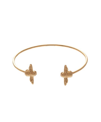 OLIVIA BURTON LONDON  3D Bee Open End Bangle Gold OBJ16AMB01 – 3D Bee Bangle - Front view
