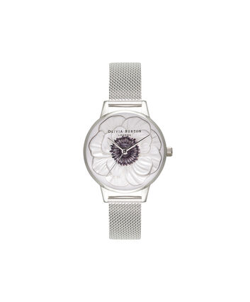 OLIVIA BURTON LONDON 3D AnemoneOB16AN01 – Midi Dial Round in White and Silver - Front view