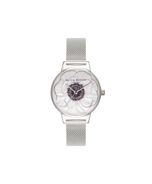 OLIVIA BURTON LONDON  3D Anemone Silver Mesh Watch OB16AN01 – Midi Dial Round in White and Silver - Front view