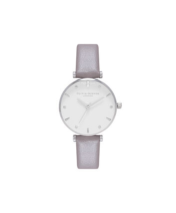 OLIVIA BURTON LONDON  Queen Bee Strap London Grey & Silver Watch OB16AM144 – Midi Dial Round in White and Silver - Front view