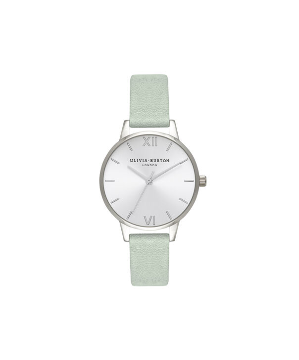 OLIVIA BURTON LONDON  Sunray Dial Sage & Silver OB16MD87 – Midi Dial Round in Silver and Sage - Front view