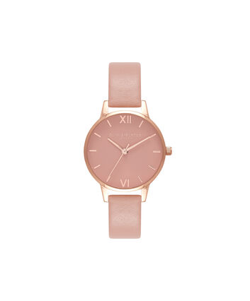 OLIVIA BURTON LONDON Pink DialOB16MD77 – Midi Dial Round in Rose Gold and Pink - Front view
