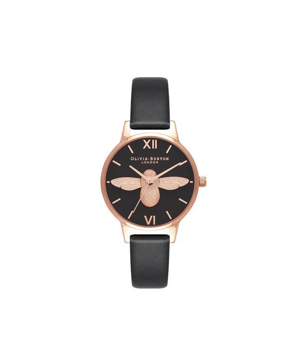 OLIVIA BURTON LONDON  Vegan Friendly Black & Rose Gold Watch OB16VE10 – Midi Dial Round in Black - Front view