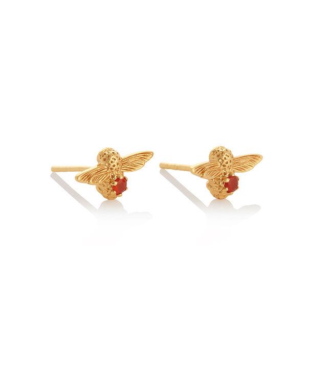 OLIVIA BURTON LONDON Celebration Bee Studs Gold & Red AgateOBJAME101 – Celebration Bee Studs Gold & Red Agate - Side view