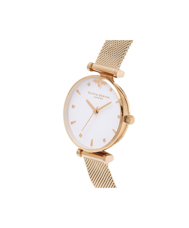OLIVIA BURTON LONDON  Queen Bee Gold Mesh Watch OB16AM138 – Midi Dial Round in White and Gold - Side view