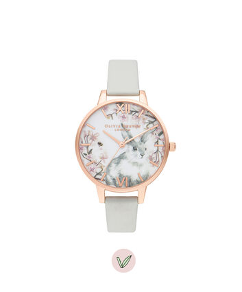 OLIVIA BURTON LONDON Bunny Demi Vegan Grey & Rose GoldOB16WL72 – Bunny Demi Vegan Grey & Rose Gold - Front view