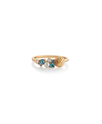 OLIVIA BURTON LONDON Under The Sea Shell Bubble Ring Gold MOBJSCR01B – SHOPBAG_LABEL - Front view