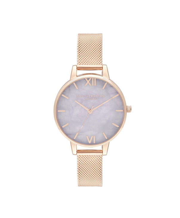 OLIVIA BURTON LONDON Demi Amethyst Rose GoldOB16SP16 – Demi Dial in London Grey and Rose Gold - Front view