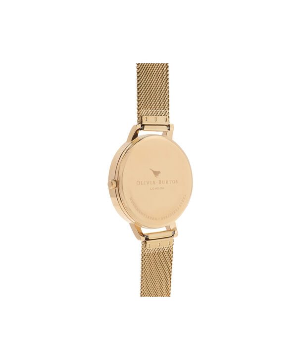 OLIVIA BURTON LONDON  White Dial Gold Mesh Watch OB15BD84 – Big Dial Round in White and Gold - Back view