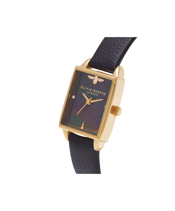 OLIVIA BURTON LONDON  Bee Hive Black Mother of Pearl, Black & Gold OB16BH02 – Midi Dial Rectangle in Gold and Black - Side view