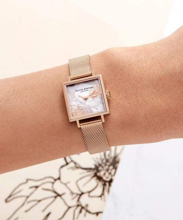 OLIVIA BURTON LONDON Abstract Florals Rose Gold Mesh Watch  OB16VM18 – Midi Dial Square in White Floral and Rose Gold - Other view