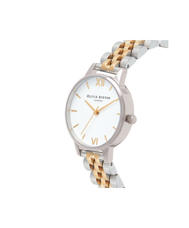 OLIVIA BURTON LONDON  Midi Dial White Dial Gold & Silver Bracelet Watch OB16MDW34 – Midi Dial in White and Silver and Gold - Side view