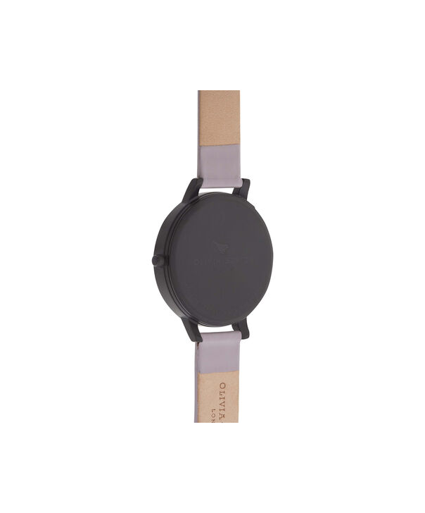 OLIVIA BURTON LONDON  After Dark Matte Black & Grey Lilac Watch OB16AD01 – Big Dial Round in Black and Grey Lilac - Back view