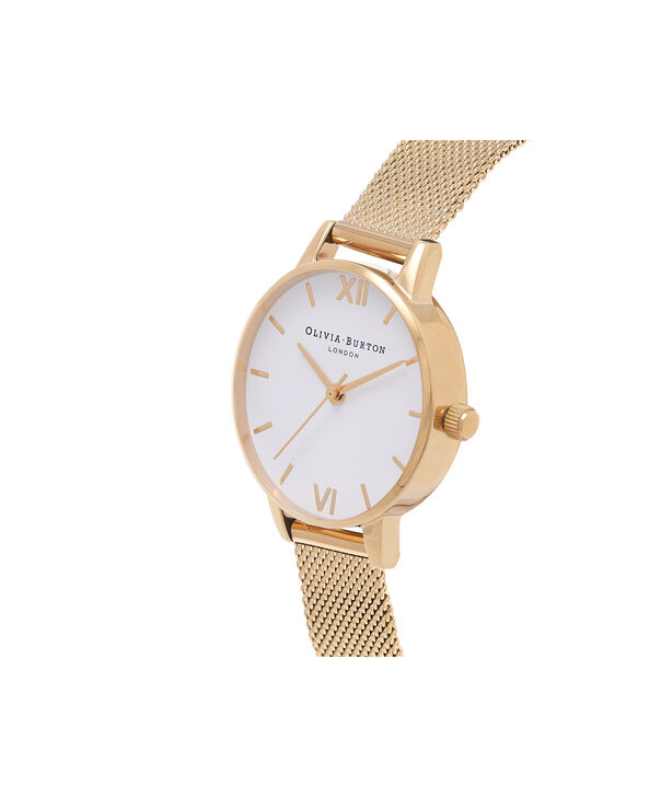 OLIVIA BURTON LONDON  White Dial Gold Mesh Watch OB16MDW35 – Midi Dial in White and Gold - Side view