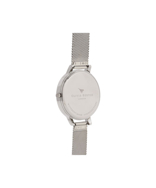 OLIVIA BURTON LONDON Embellished Strap Mesh Watch, Rose Gold & SilverOB16ES10 – Big Dial Round in White and Silver - Back view