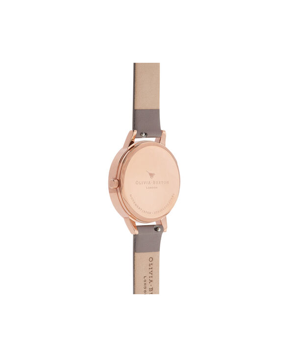 OLIVIA BURTON LONDON  Wonderland London Grey & Rose Gold Watch OB16WD63 – Midi Dial Round in Silver and Grey - Back view
