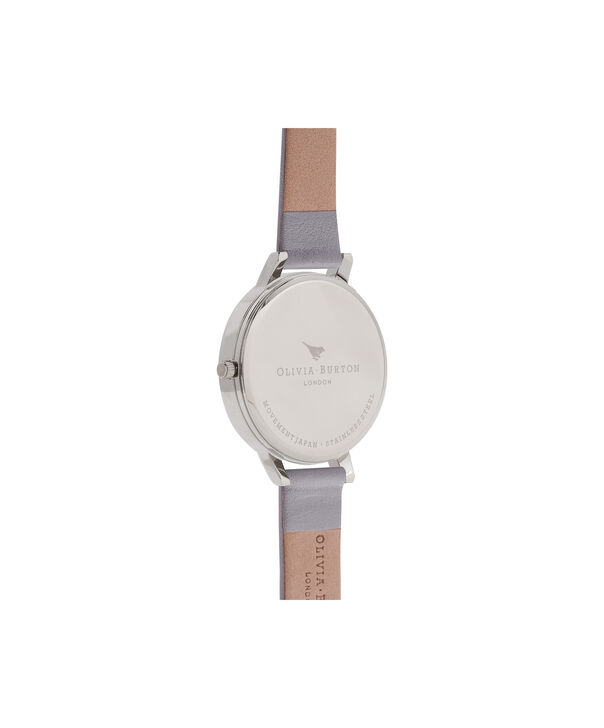 OLIVIA BURTON LONDON  Enchanted Garden Grey & Silver Watch OB15FS76 – Big Dial Round in Floral and Grey - Back view