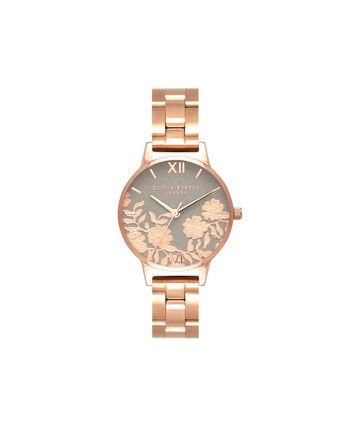 OLIVIA BURTON LONDON  Lace Detail Grey & Rose Gold Bracelet OB16MV88 – Midi Dial Round in Rose Gold - Front view