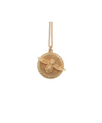 OLIVIA BURTON LONDON  3D Bee & Coin Necklace Gold OBJ16AMN08 – 3D Bee Disc Necklace - Front view
