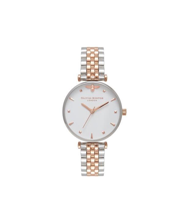 Ladies T-Bar Bracelet Silver & Rose Gold Watch | Olivia Burton London
