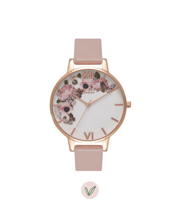 OLIVIA BURTON LONDON Vegan FriendlyOB16VE04 – Big Dial Round in Floral and Rose Sand - Front view