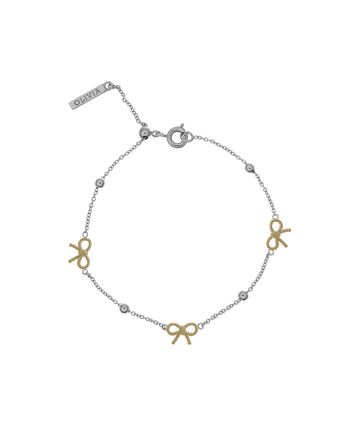 OLIVIA BURTON LONDON  Bow and Ball Bracelet Silver and Gold OBJ16VBB12 – Vintage Bow Chain Bracelet - Front view