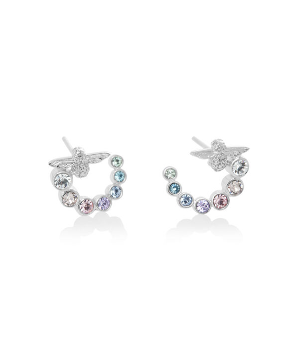 OLIVIA BURTON LONDON Rainbow Bee Swirl Hoop Earrings SilverOBJAME133 – Earrings in Silver - Side view